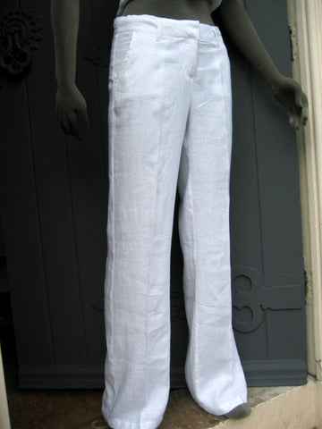 loose leg womens linen trousers white