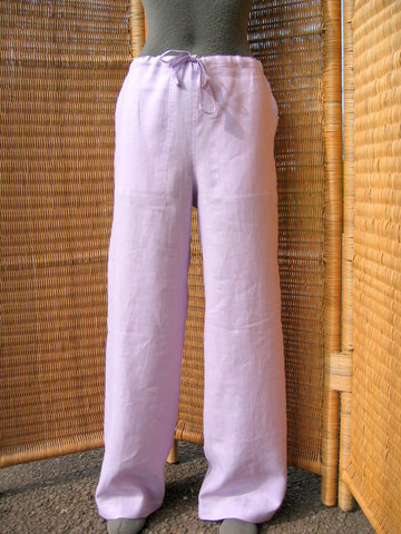 drawstring linen trousers lilac
