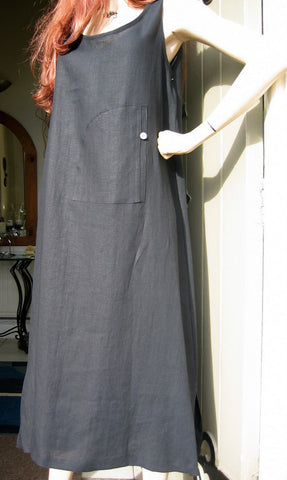 eva tralala linen sleeveless dress napoli black