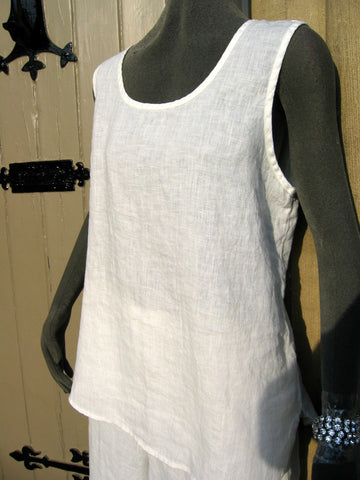 flax ladies linen white camisole