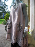 italian linen long graffiti tunic taupe