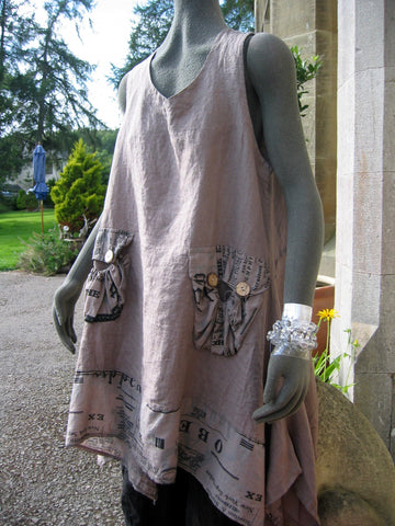italian ladies linen long graffiti tunic taupe