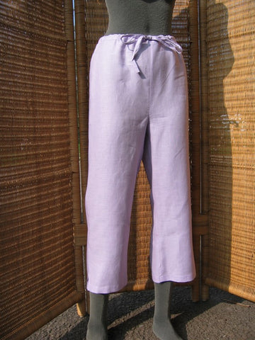 ladies linen cutoff pants lilac