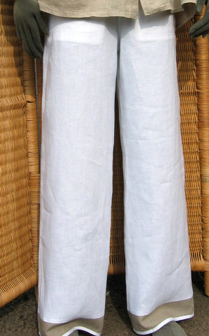 ladies linen border drawstring trousers white