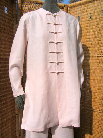 ladies mandarin style linen jacket or tunic pale pink