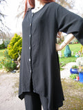 one life cotton crepe button through tunic pico black