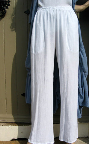one life cotton crepe pants white