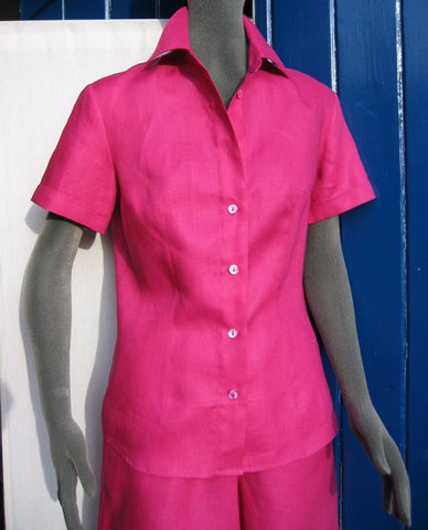 short sleeved fitted linen blouse
