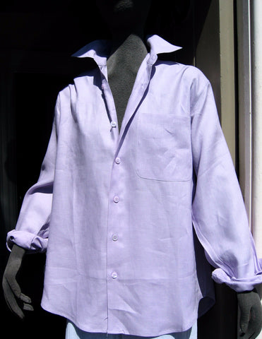 unisex ladies or mens linen shirt in lilac