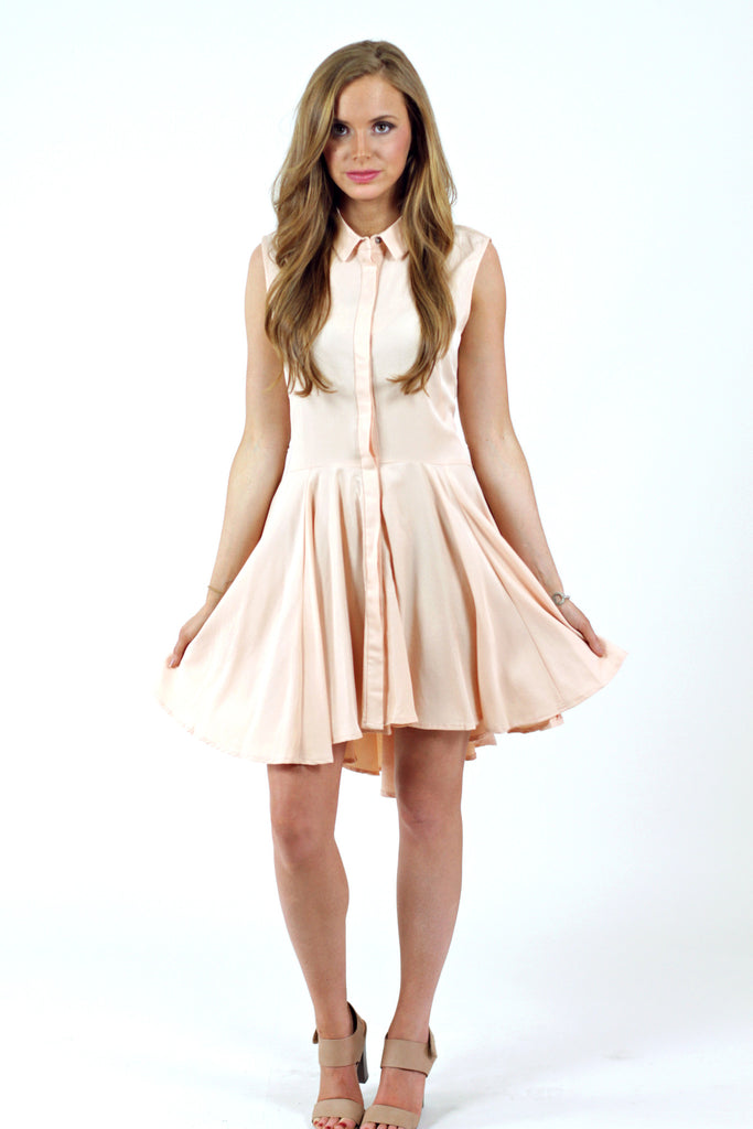 Button Up Collar Dress