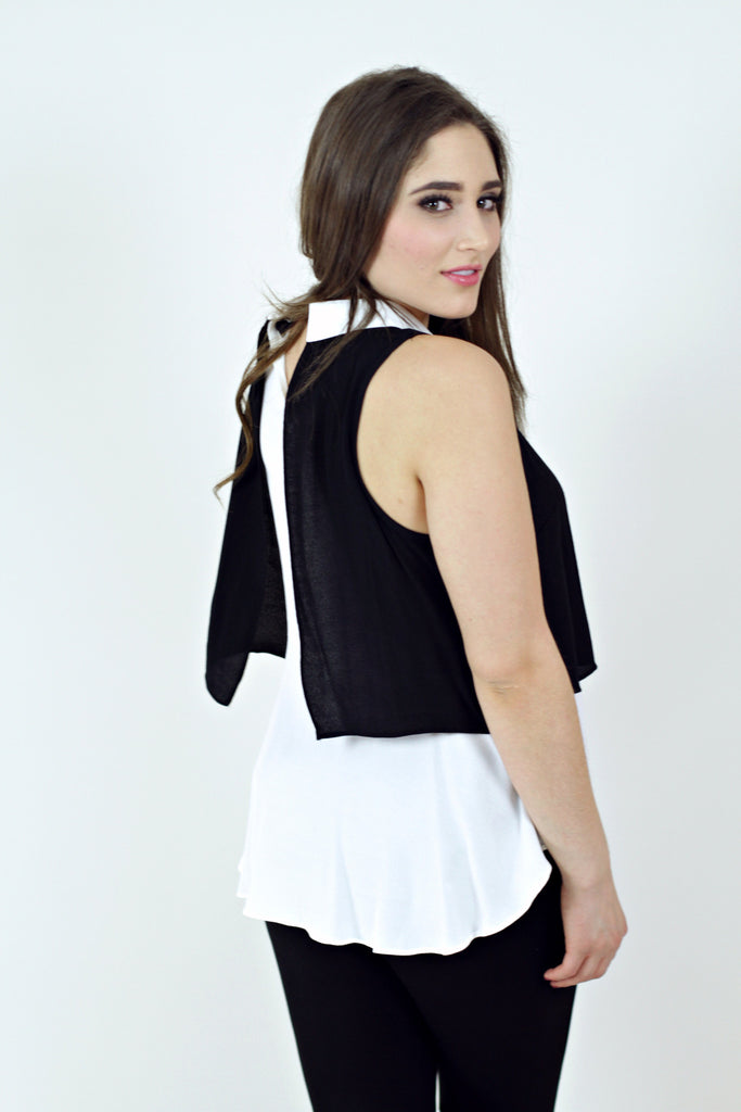 Sleeveless Collar Top