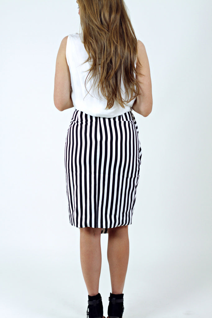 Asymmetric Stripe Skirt