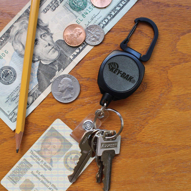 Sidekick Retractable Keychain & Badge Reel with Carabiner, Key Ring and Twist-Free Clear Vinyl I.D. Strap