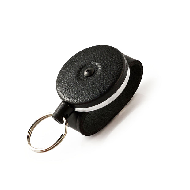 The Original Retractable Keychain with Vintage Chrome or Vinyl Black Front and Key Ring