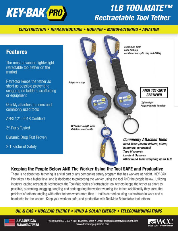 ToolMate 1 lb. Carabiner Retractable Tool Lanyard - KEY-BAK Retractable Reels