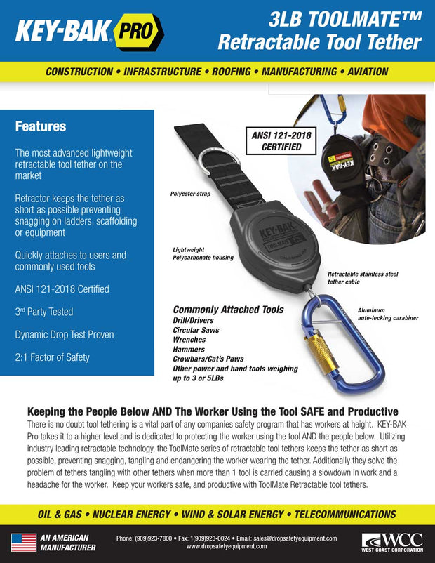 3 lb. Drill Shoe and Retractable Tool Lanyard Combo