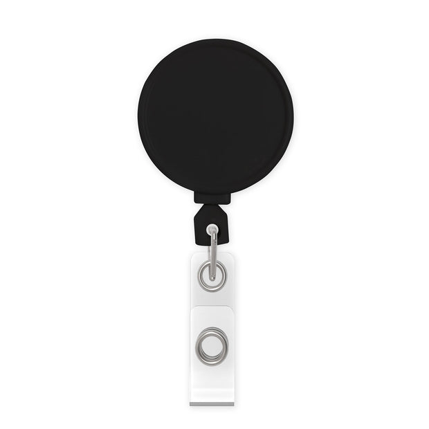 Retract-A-Badge Circle Badge Reel with Belt Clip and Clear Vinyl I.D. Strap (5-Pack)