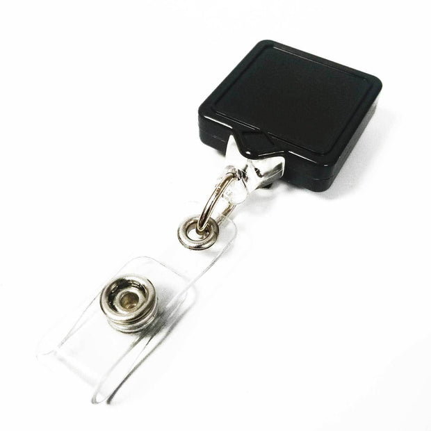 Square MINI-BAK Badge Reel with Clip on or Belt Clip and Clear I.D. Badge Holder