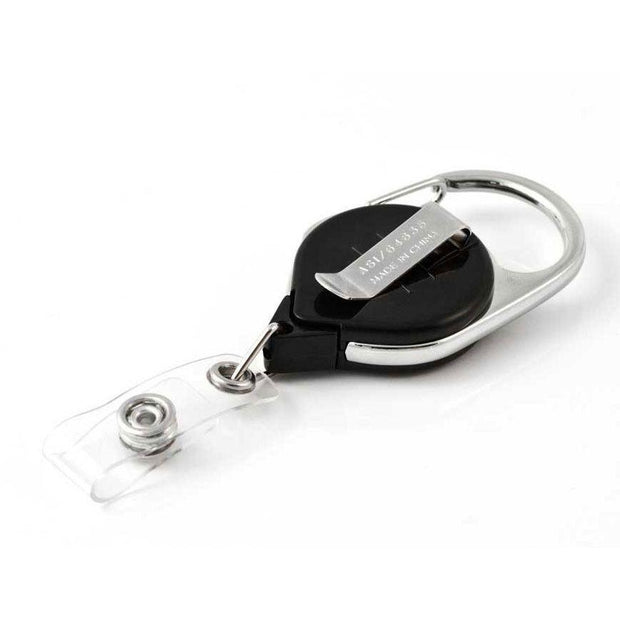 Retract-A-Badge Carabiner Badge Reel with Carabiner and Clear Vinyl I.D. Strap (5-Pack)