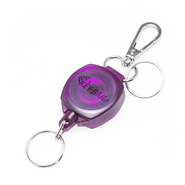 SnapBack Retractable Keychain with 24 Inch Cut Resistant Cord, Charm Ring, and Easy to Use Clip