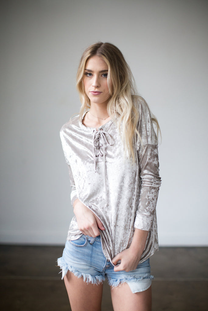 Crushed Velvet Lace Up Top