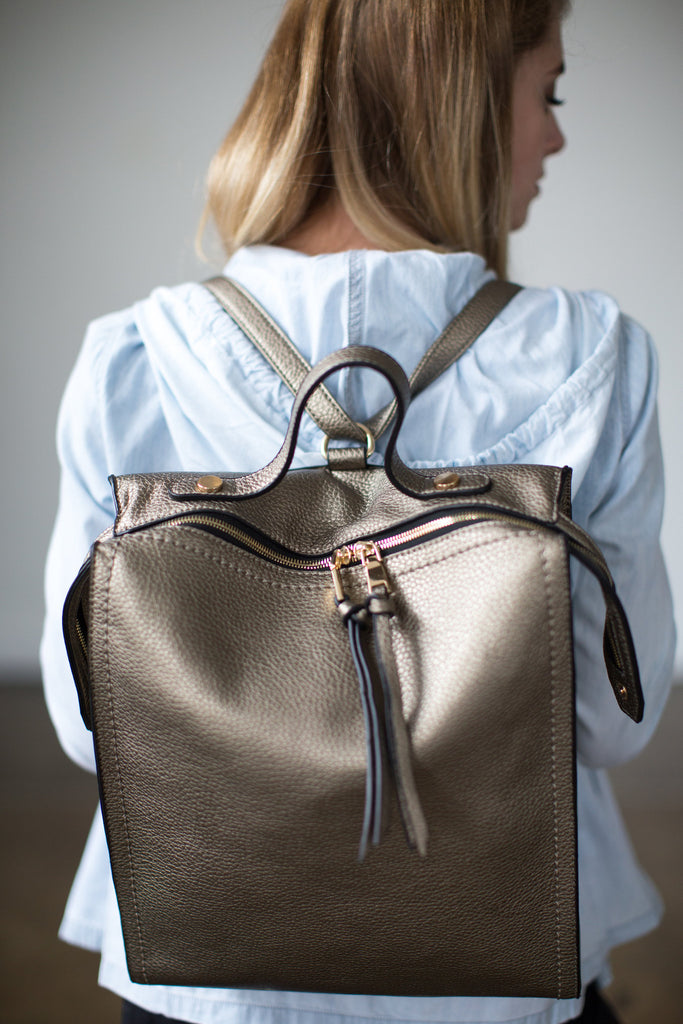 Upstate Leather Backpack in Raw Silver