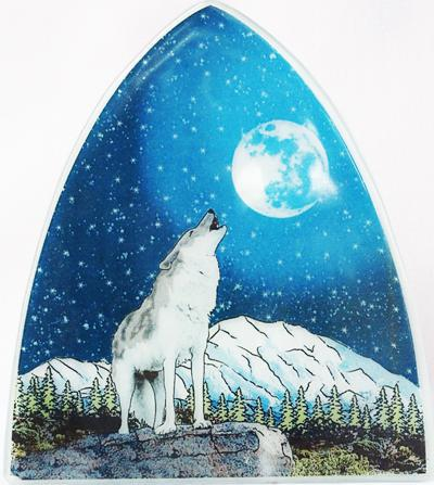 Recycled Glass Night Light  | Wolf With Moon