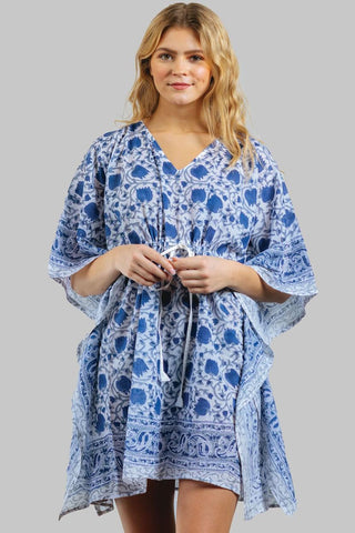 Cotton Caftan | Blue Floral