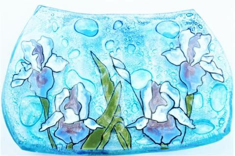 Recycled Glass Soap Dish | Iris Flower
