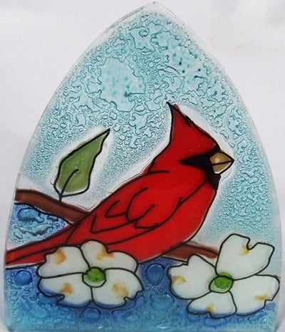 Recycled Glass Night Light  | Cardinal w/ Dogwood