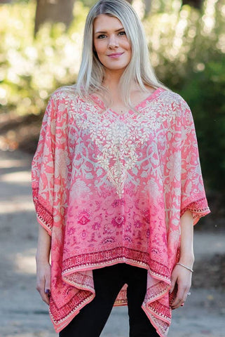 Embroidered Taneesha Top | Coral