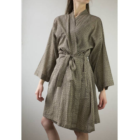 Printed Cotton Robe | Cam Olive