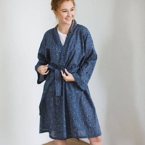 Printed Cotton Robe | Tiz Ocean