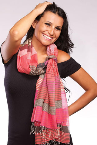 Samita Stripes Scarf | Magenta/Orange