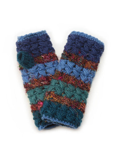 Crochet Wool/Silk Fingerless Gloves | 7 Colors