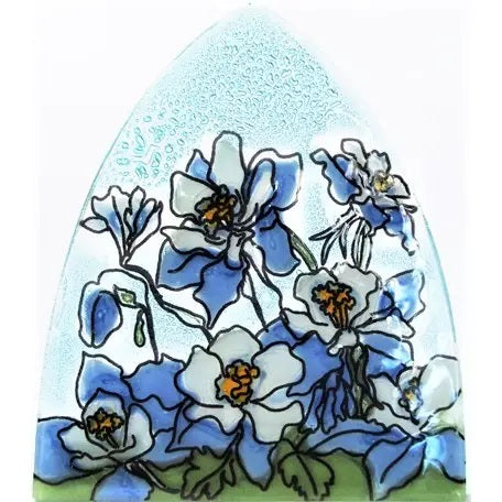 Recycled Glass Night Light  | Blue Columbine Flower