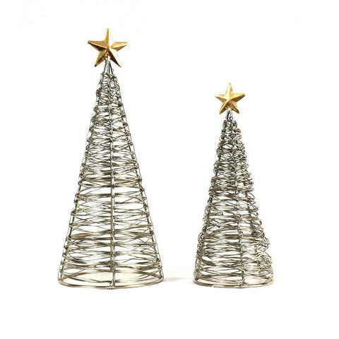 Wrapped Wire Tree w/Gold Star | 2 Sizes