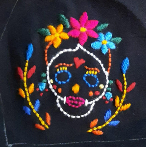 Embroidered Sugar Skull Duckbill Face Mask