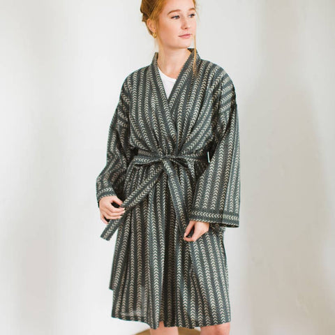 Printed Cotton Robe | Bath Olive
