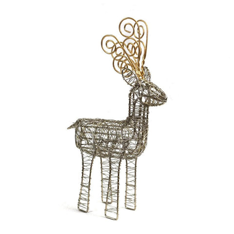 Wrapped Wire Reindeer w/Gold Antler