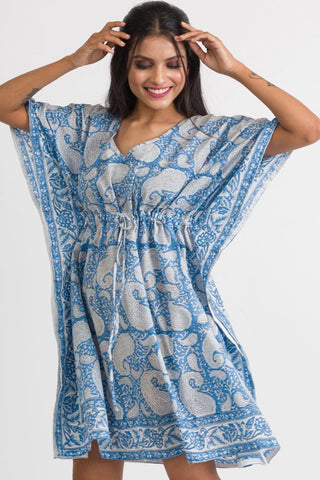 Cotton Caftan | Blue & White Paisley