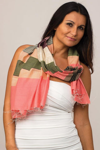 Samita Stripes Scarf | Watermelon
