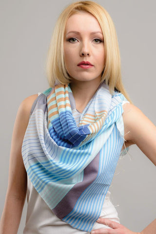 Samita Stripes Scarf | Blue & Tan
