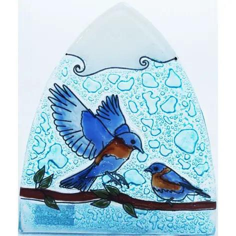 Recycled Glass Night Light | Blue Birds