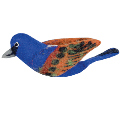 Woolie Bird Ornament | Blue Grosbeak