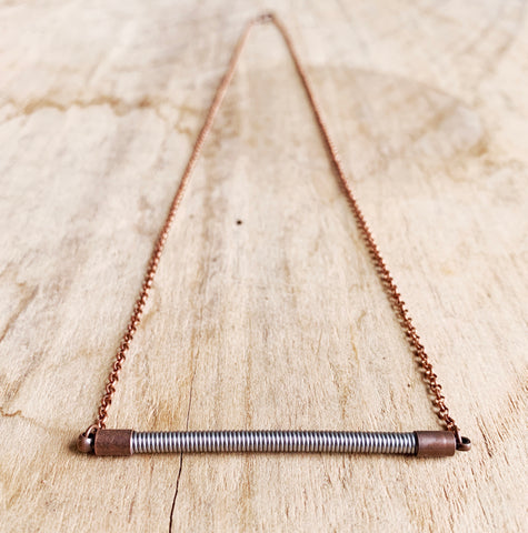 Recycled Bass String Bar Necklace