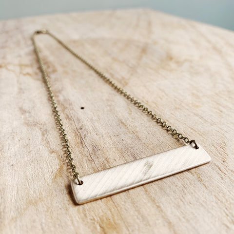 Recycled Drum Cymbal Bar Necklace