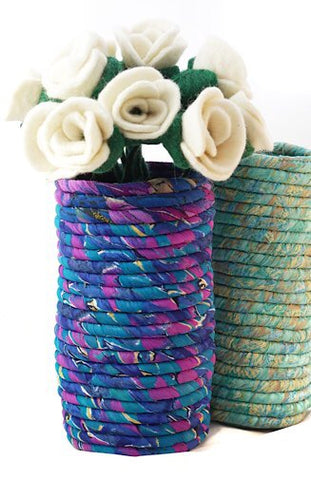 Upcycled Sari Wrapped Coil Cylinder Vase
