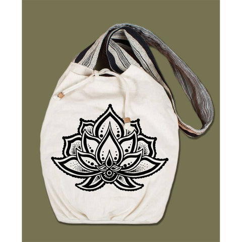Canvas Boho Bag | Lotus Flower