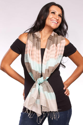 Samita Stripes Scarf | Sea Green/Peach